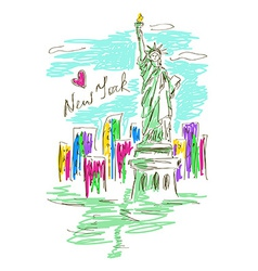 Sketch with Statue of Liberty vector image vector image