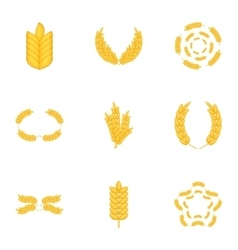 Wheat rye or barley icons set cartoon style vector image vector image
