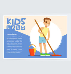young smiling boy cleaning the floor with mop kid vector image