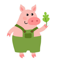 cute cartoon pig vector image vector image