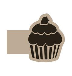 dark contour muffin icon vector image