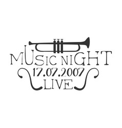live music night concert black and white poster vector image vector image