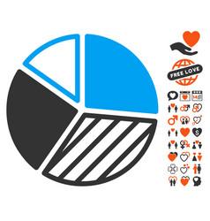 pie chart icon with valentine bonus vector image