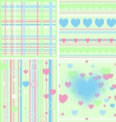 Set floral seamless background vector image