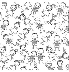 silhouette pattern set collection children design vector image