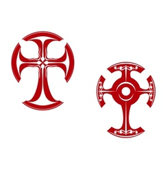 Two stylized crosses vector image vector image