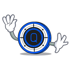 waving qash coin character cartoon vector image vector image