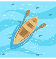 Wooden Boat With Blue Sea Water On Background vector image vector image