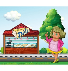 A fat lady in front of the deli store vector image vector image