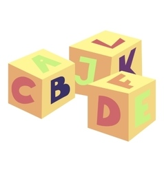 Alphabet cubes toy icon cartoon style vector image