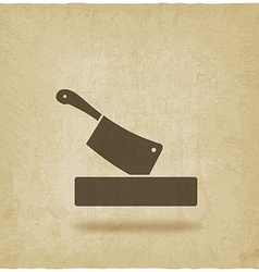 butcher knife in chopping board old background vector image