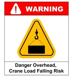 Danger overhead load sign vector image vector image