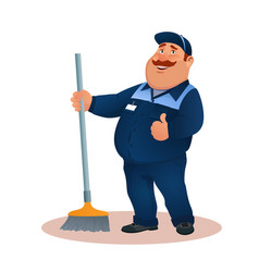 Funny cartoon janitor with mop smiling fat man vector