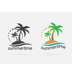 image of an palm tropical tree icon vector image