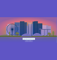 journey to singapore gorizontal banner night vector image vector image