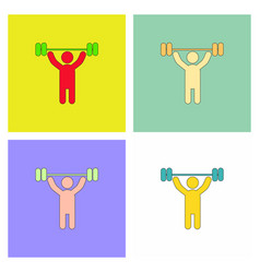 A man lifting weight silhouette collection vector
