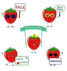 a set of five strawberry smiley in different poses vector image