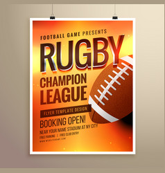 Amazing rugby flyer poster design template with vector
