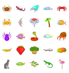 Animal kingdom icons set cartoon style vector