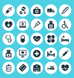 Antibiotic icons set collection pellet heal vector