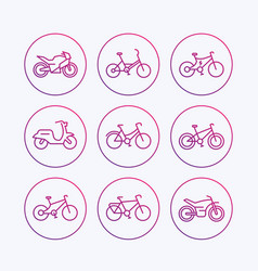 Bikes icons bicycle bike cycling motorcycle vector