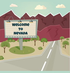 billboard welcome to usa in mounains background vector image