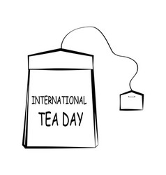 black and white drawing of a tea bag lettering on vector image
