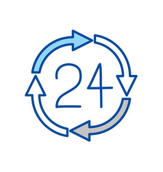 blue contour of 24 hours arrow circle icon vector image