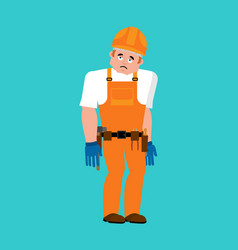 builder sad worker in protective helmet sorrowful vector image