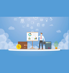 business presentation concept with man present vector image
