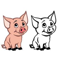 Cartoon baby pig vector