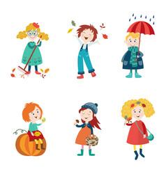 cartoon kids enjoy fall autumn activities vector image