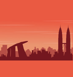 city tour scenery of silhouettes vector image