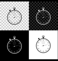 classic stopwatch icon isolated on black white vector image