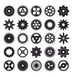 cogwheel silhouette icons set isolated on white vector image