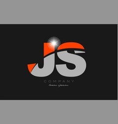 Combination letter js j s in grey orange color vector