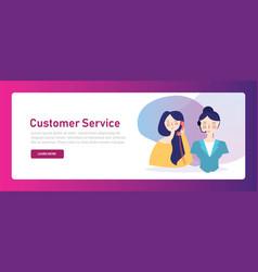 Customer service call center woman consultant talk vector