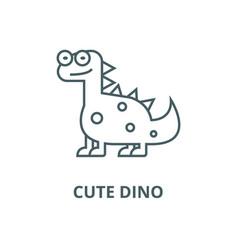 cute dinodinosaur line icon cute dino vector image