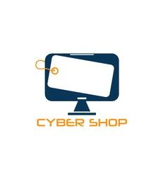 Cyber computer shop design template vector