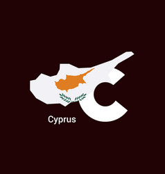 Cyprus initial letter country with map and flag vector