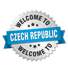 Czech Republic 3d silver badge with blue ribbon vector image