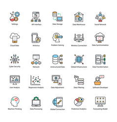 data science flat icons vector image