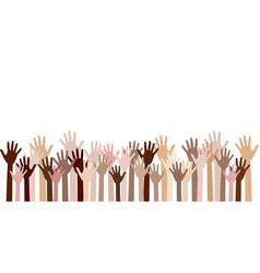 Diversity of human hands raised vector