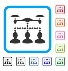drone clients connection framed icon vector image