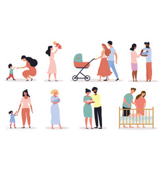 Eight different scenes depicting motherhood vector