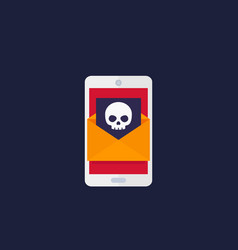 Email with virus mobile spam icon vector
