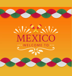 festive mexican banner card with logo and fan vector image
