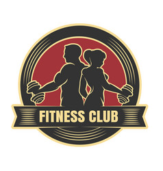 fitness or athletic club emblem drawn vector image