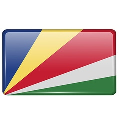 Flags SEYCHELLES in the form of a magnet on vector