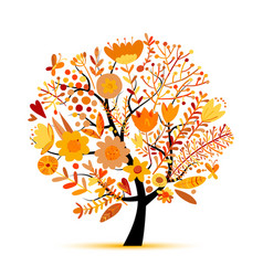 floral tree autumn colors sketch for your design vector image